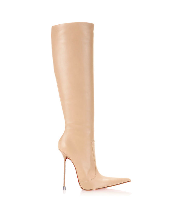 Corçao Nude · Charlotte Luxury Boots · Luxury High Heel Pointy Boots ·  Di Marni · Custom made · Made to measure · Luxury Pointy High Heel Boots · Stiletto Boots
