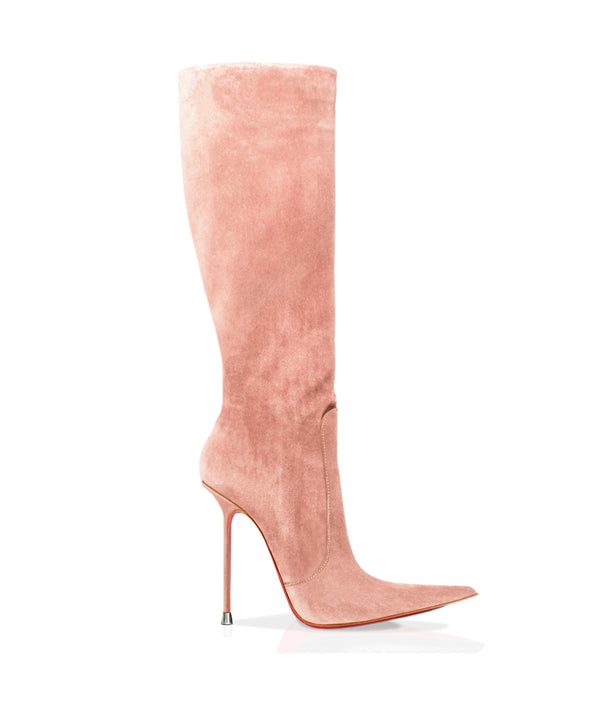 Corçao Nude Suede · Charlotte Luxury Boots · Luxury High Heel Pointy Boots · Di Marni · Custom made · Made to measure · Luxury Pointy High Heel Boots · Stiletto Boots