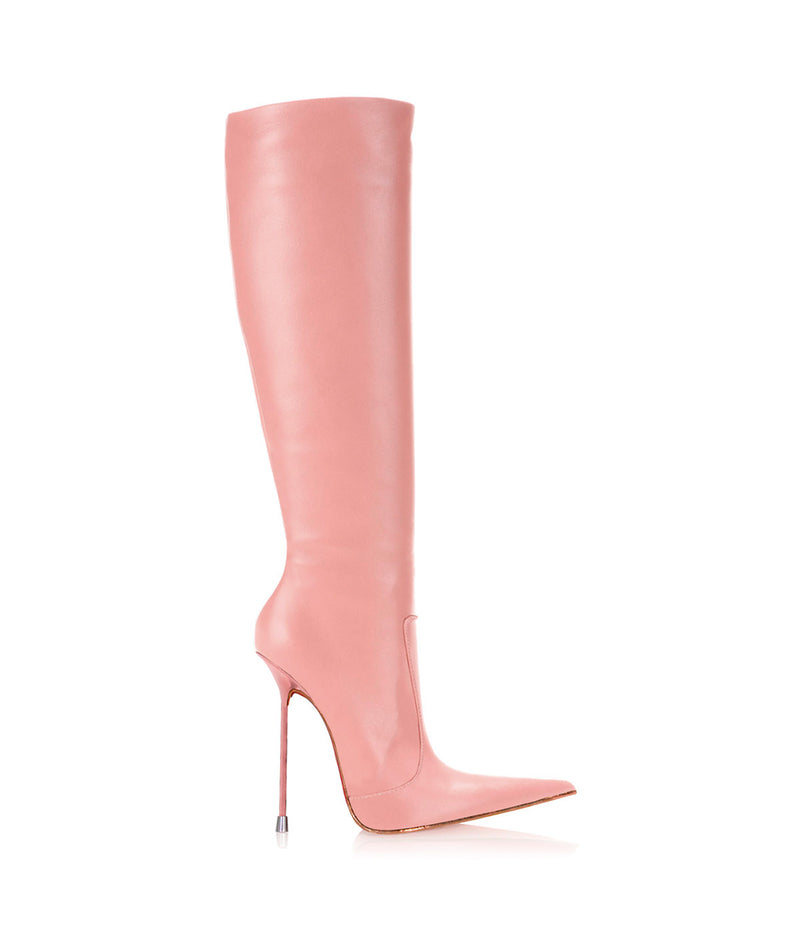 Corçao Pink · Charlotte Luxury Boots · Luxury High Heel Pointy Boots ·  Di Marni · Custom made · Made to measure · Luxury Pointy High Heel Boots · Stiletto Boots