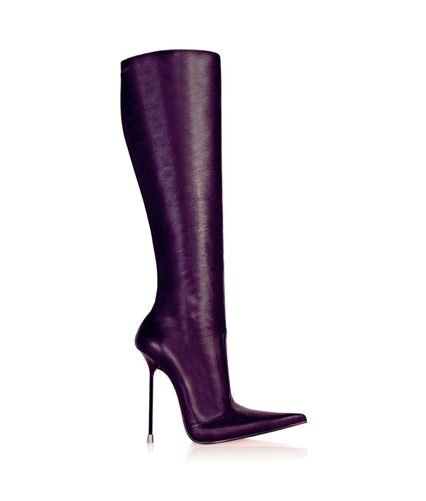 Corçao Purple · Charlotte Luxury Boots · Luxury High Heel Pointy Boots ·  Di Marni · Custom made · Made to measure · Luxury Pointy High Heel Boots · Stiletto Boots