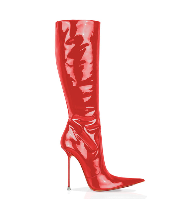 Corçao Red Patent · Charlotte Luxury Boots · Luxury High Heel Pointy Boots ·  Di Marni · Custom made · Made to measure · Luxury Pointy High Heel Boots · Stiletto Boots