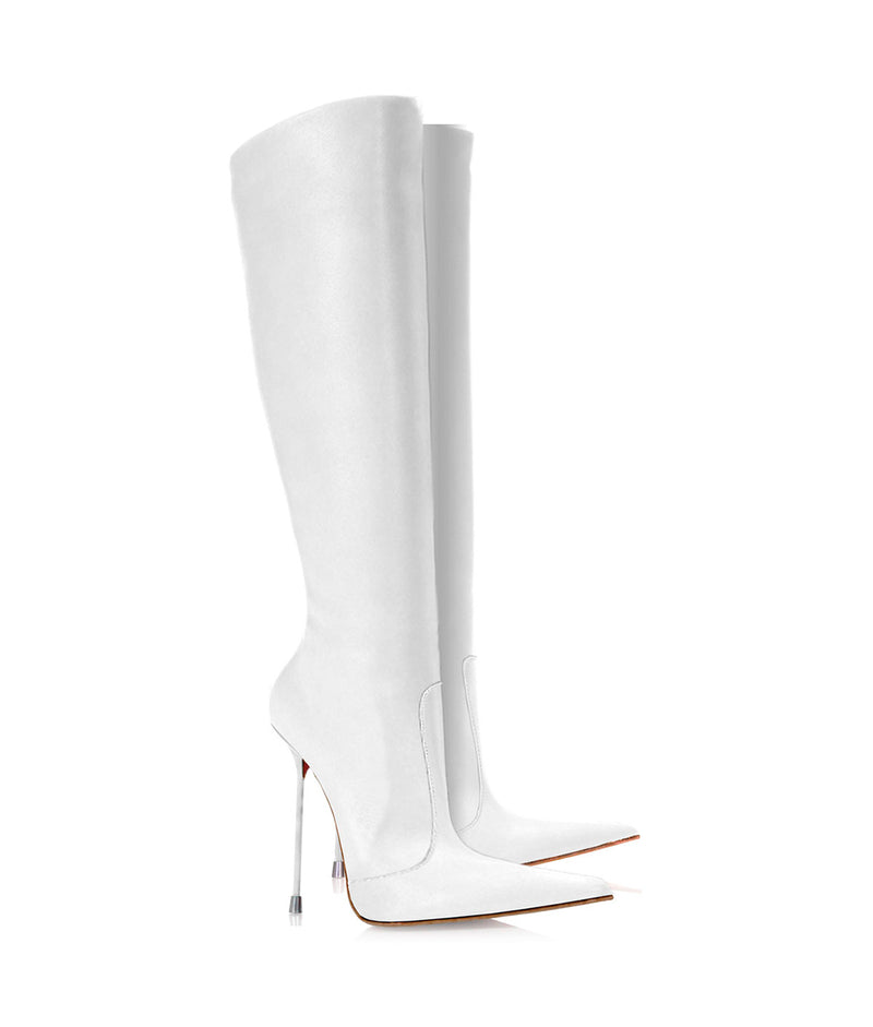 Corçao White · Charlotte Luxury Boots · Luxury High Heel Pointy Boots ·  Di Marni · Custom made · Made to measure · Luxury Pointy High Heel Boots · Stiletto Boots