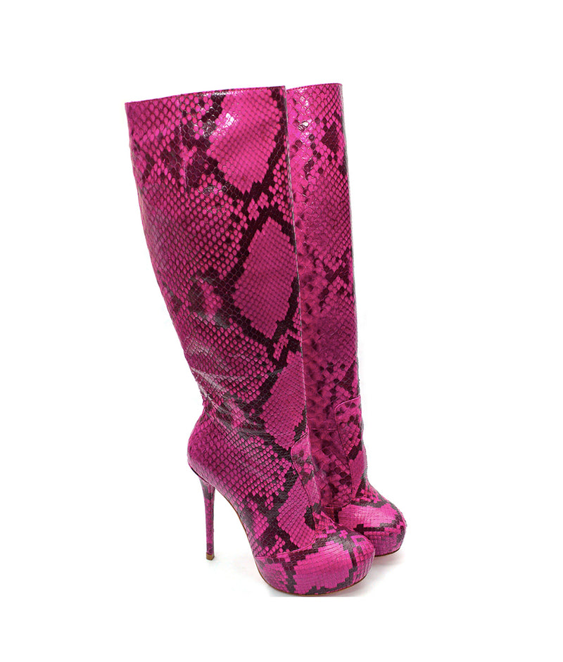 Crocky Fuchsia Python · Charlotte Luxury Boots · Luxury High Heel Knee High Boots · Yarose Shulzhenko · Custom Made · Made to measure · Luxury High Heel Tall Boots · Boots