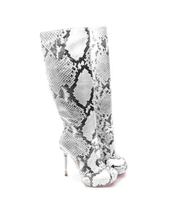Crocky White Python · Charlotte Luxury Boots · Luxury High Heel Knee High Boots · Yarose Shulzhenko · Custom Made · Made to measure · Luxury High Heel Tall Boots · Boots
