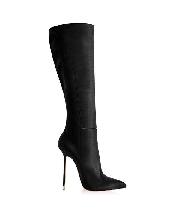 Dali Black · Charlotte Luxury Boots · Luxury High Heel Pointy Boots · Di Marni · Custom made · Made to measure · Luxury Pointy High Heel Boots · Stiletto Boots