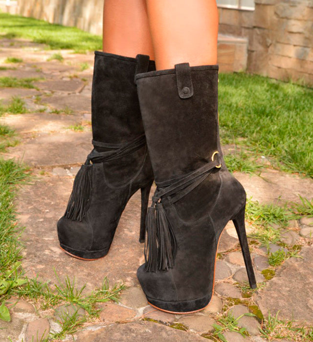 Dalia Black Suede · Charlotte Luxury Boots · Luxury High Heel Boots · Yarose Shulzhenko · Custom Made · Made to measure · Luxury High Heel Booties  · Boots