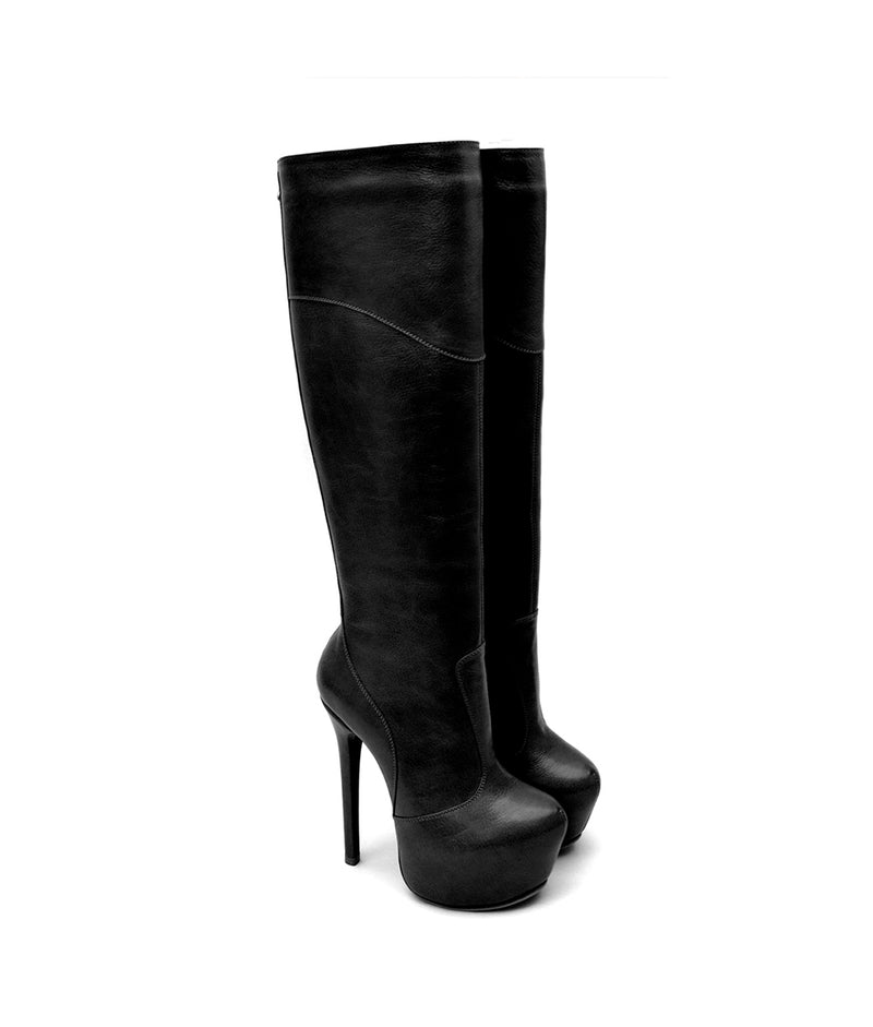 Darika Black · Charlotte Luxury Boots · Luxury High Heel Knee High Boots · Yarose Shulzhenko · Custom Made · Made to measure · Luxury High Heel Tall Boots · Boots