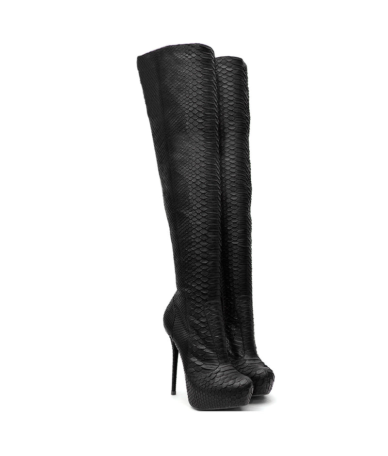 Datsiu Black Python · Charlotte Luxury Boots · Luxury High Heel Over Knee Boots · Yarose Shulzhenko · Custom Made · Made to measure · Luxury High Heel Tall Boots · Boots