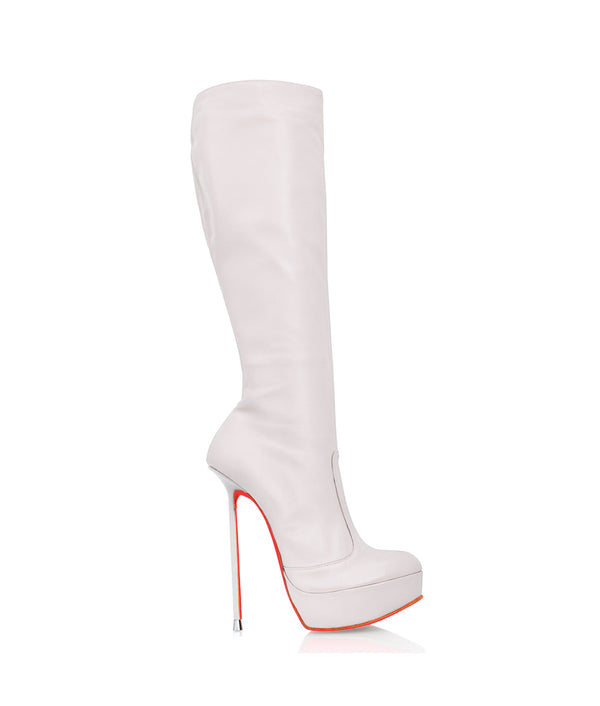 Demona White  · Charlotte Luxury Boots · Luxury High Heel Knee High Boots · Di Marni · Custom made · Made to measure · Luxury Platform Boots · High Heel Boots