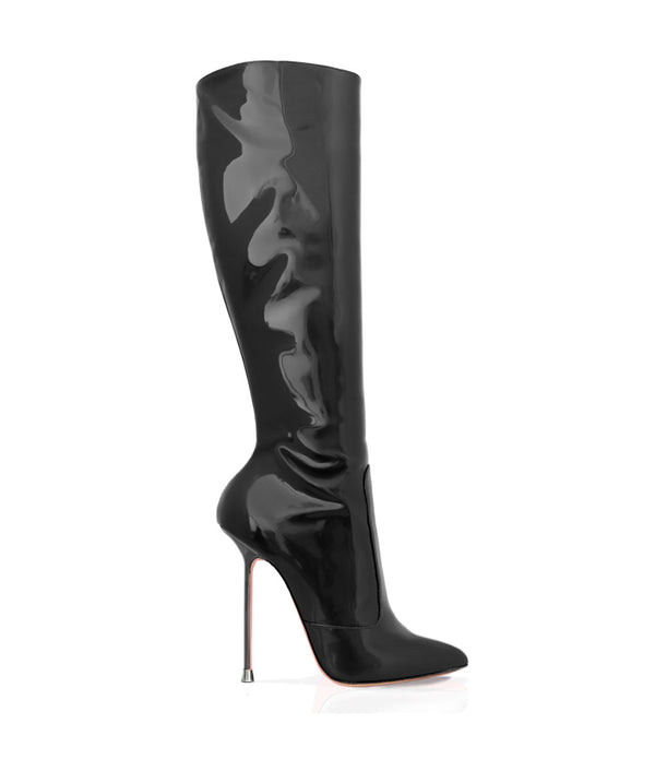 Dorbeon Black Patent · Charlotte Luxury Boots · Luxury High Heel Pointy Boots · Di Marni · Custom made · Made to measure · Luxury Pointy High Heel Boots · Stiletto Boots