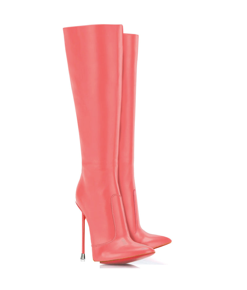 Dorbeon Pink · Charlotte Luxury Boots · Luxury High Heel Pointy Boots · Di Marni · Custom made · Made to measure · Luxury Pointy High Heel Boots · Stiletto Boots