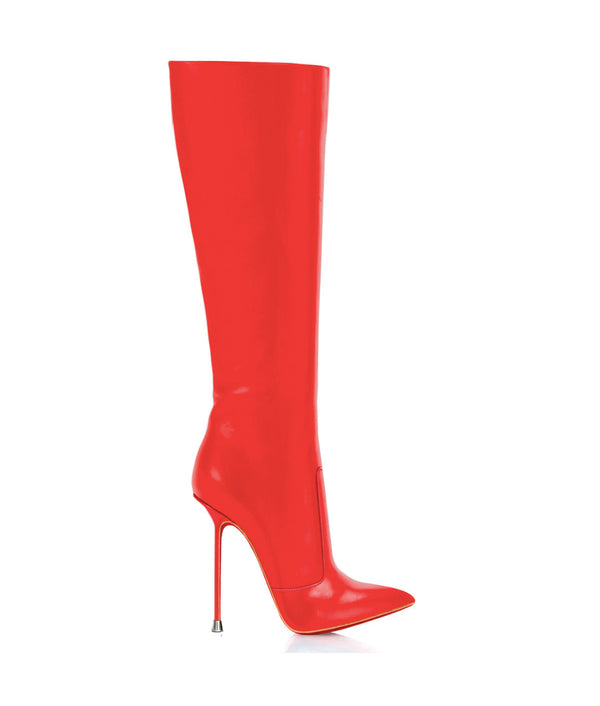 Dorbeon Red · Charlotte Luxury Boots · Luxury High Heel Pointy Boots · Di Marni · Custom made · Made to measure · Luxury Pointy High Heel Boots · Stiletto Boots