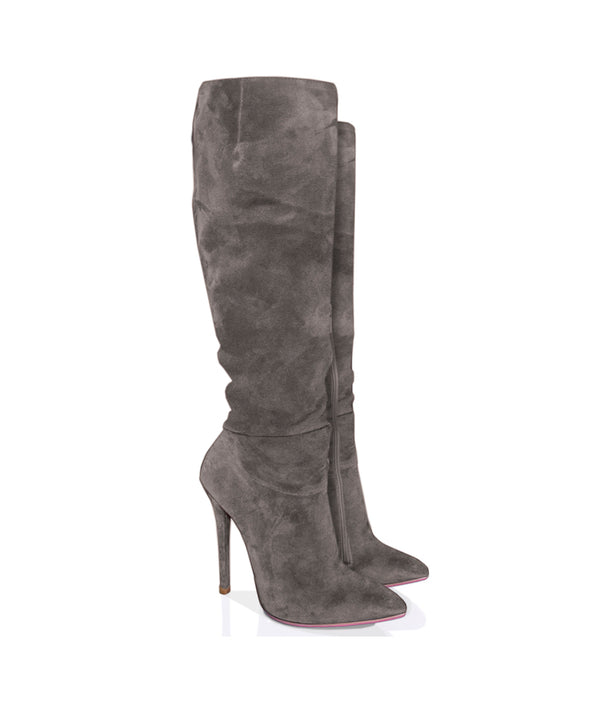 Dracca Gray Suede · Charlotte Luxury Boots · Luxury High Heel Knee High Boots · Yarose Shulzhenko · Custom Made · Made to measure · Luxury High Heel Tall Boots · Boots