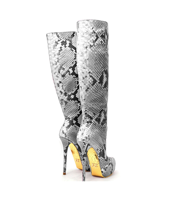 Droost Gray Python · Charlotte Luxury Boots · Luxury High Heel Knee High Boots · Yarose Shulzhenko · Custom Made · Made to measure · Luxury High Heel Tall Boots · Boots