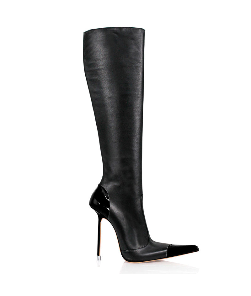 Drymash Black & Black · Charlotte Luxury Boots · Luxury High Heel Pointy Boots · Di Marni · Custom made · Made to measure · Luxury Pointy High Heel Boots · Stiletto Boots