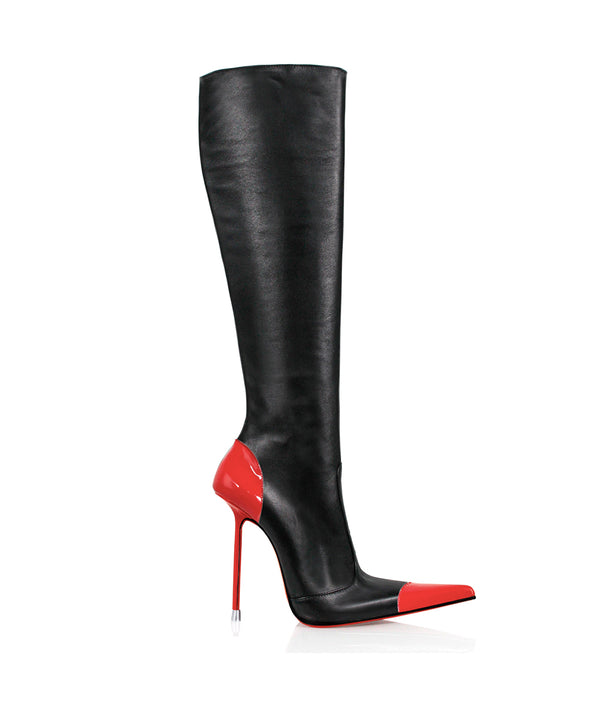 Drymash Black & Red · Charlotte Luxury Boots · Luxury High Heel Pointy Boots · Di Marni · Custom made · Made to measure · Luxury Pointy High Heel Boots · Stiletto Boots