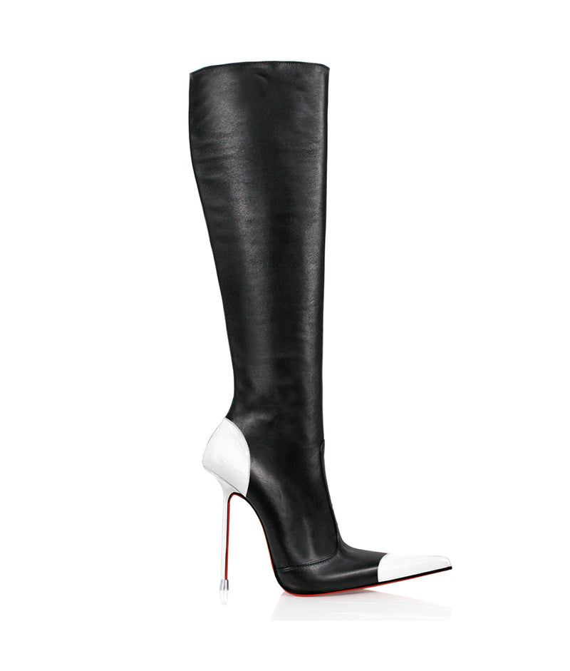 Drymash Black & White · Charlotte Luxury Boots · Luxury High Heel Pointy Boots · Di Marni · Custom made · Made to measure · Luxury Pointy High Heel Boots · Stiletto Boots