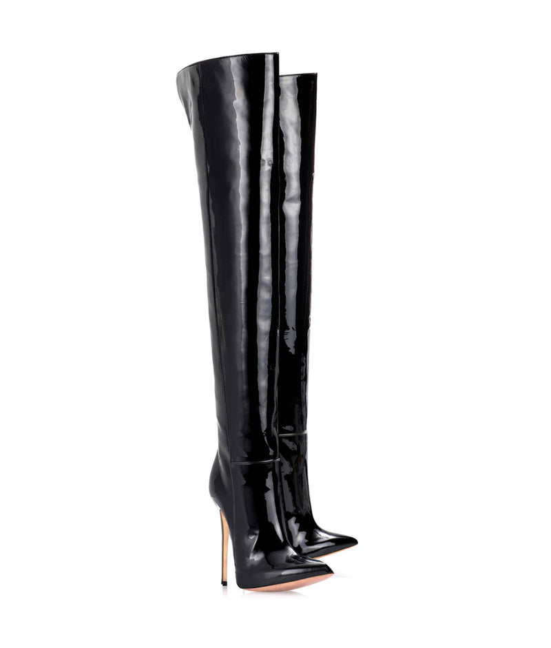 Duimas  Black Patent ·  Charlotte Luxury Boots · Luxury High Heel Pointy Boots · Di Marni · Custom made · Made to measure · Luxury Over Knee High Heel Boots · Boots