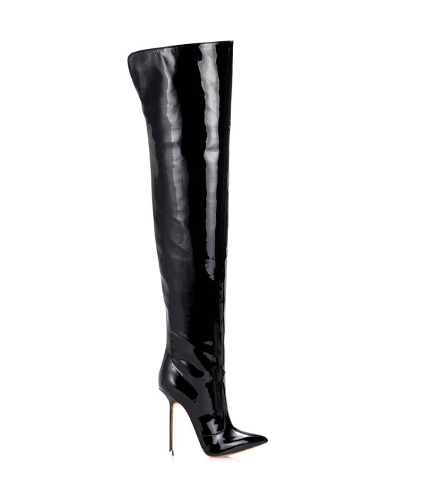 Guaran  Black Patent ·  Charlotte Luxury Boots · Luxury High Heel Pointy Boots · Di Marni · Custom made · Made to measure · Luxury Over Knee High Heel Boots · Boots