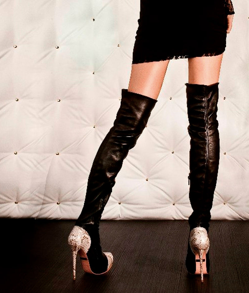 Husky Black & Gray · Charlotte Luxury Boots · Luxury High Heel Over Knee Boots · Yarose Shulzhenko · Custom Made · Made to measure · Luxury High Heel Tall Boots · Boots