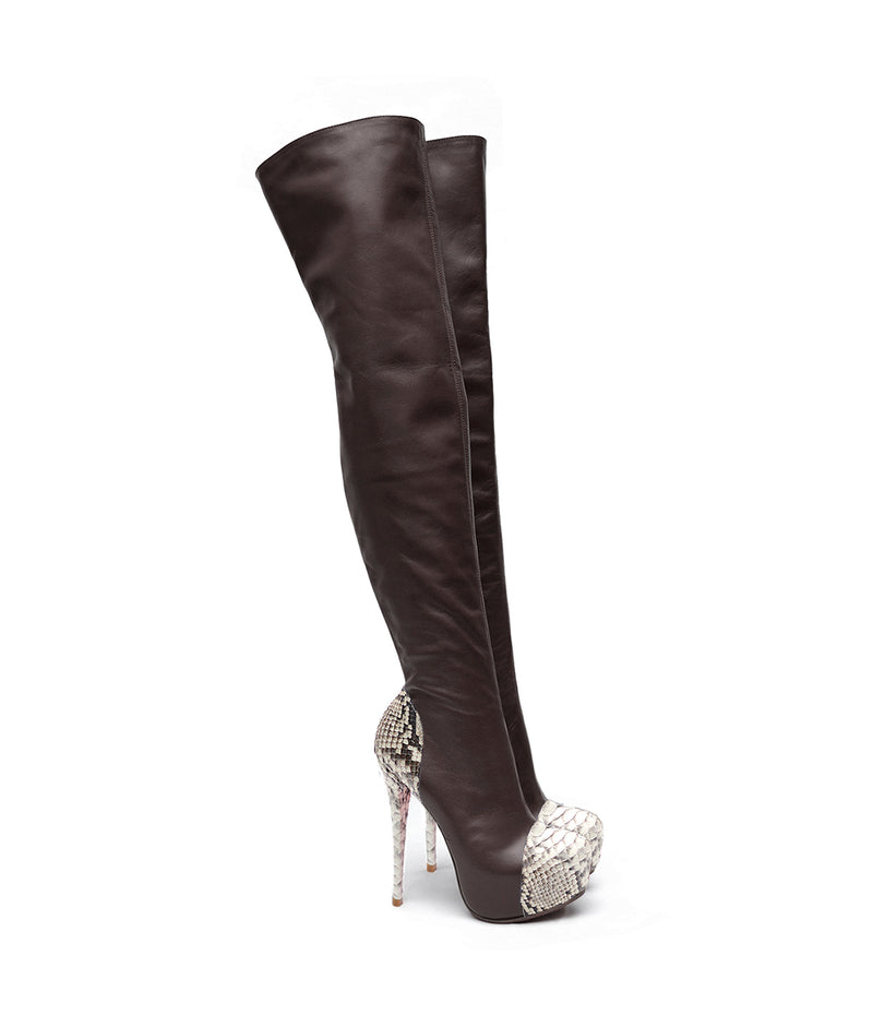 Husky Brown & Gray · Charlotte Luxury Boots · Luxury High Heel Over Knee Boots · Yarose Shulzhenko · Custom Made · Made to measure · Luxury High Heel Tall Boots · Boots