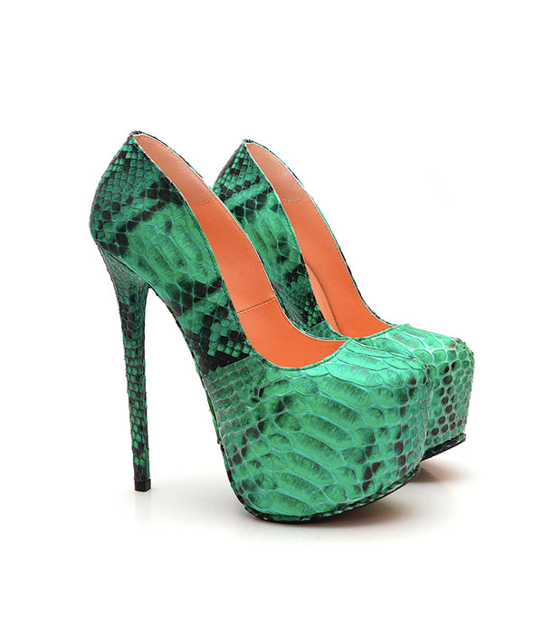 Junna Green Python · Charlotte Luxury Shoes · Luxury High Heel Platform Shoes · Yarose Shulzhenko · Custom Made · Made to measure · Luxury High Heel Shoes · Shoes