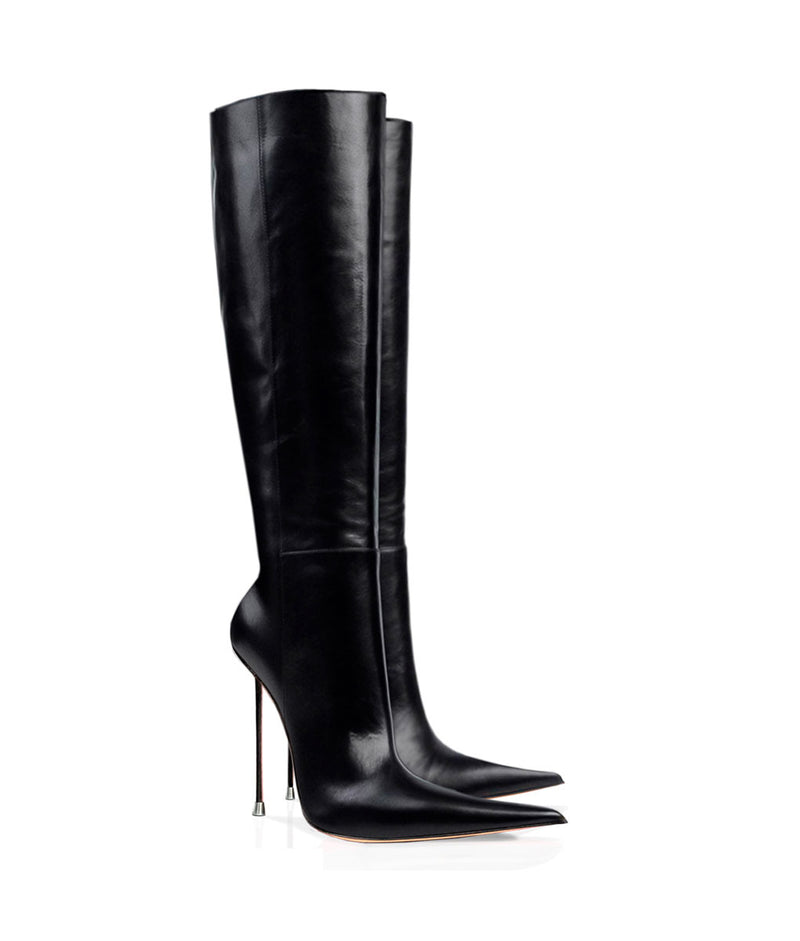 Kasiis Black · Charlotte Luxury Boots · Luxury High Heel Pointy Boots · Di Marni · Custom made · Made to measure · Luxury Pointy High Heel Boots · Stiletto Boots