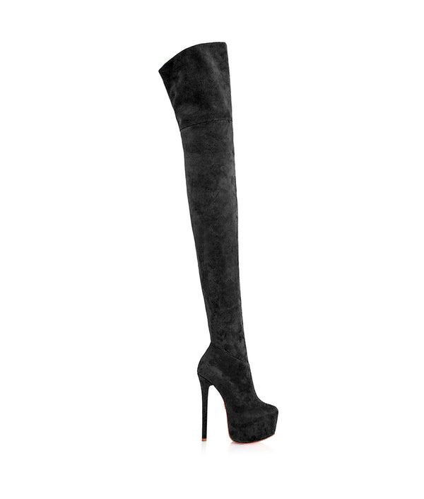 Kharim Black Suede · Charlotte Luxury · Luxury High Heels Thigh High Boots · Yarose Shulzehnko Ys Boots · Thigh High custom Made Boots