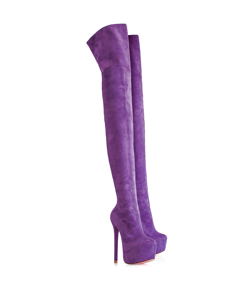 Kharim Purple Suede · Charlotte Luxury · Luxury High Heels Thigh High Boots · Yarose Shulzehnko Ys Boots · Thigh High custom Made Boots