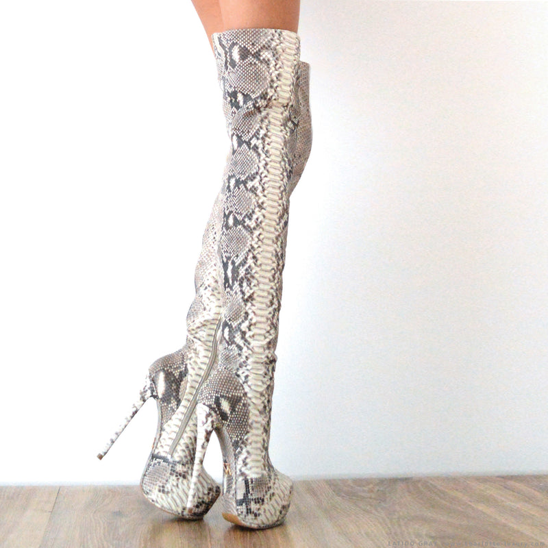 Latido Gray Python · Charlotte Luxury Boots · Luxury High Heel Thigh High Boots · Yarose Shulzhenko · Custom Made · Made to measure · Luxury High Heel Tall Boots · Boots