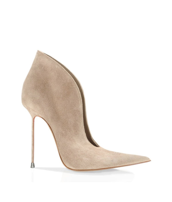Nukha Beige Suede · Charlotte Luxury Boots · Luxury High Heel Pointy Boots · Di Marni · Custom made · Made to measure · Luxury Pointy High Heel Boots · Stiletto Boots
