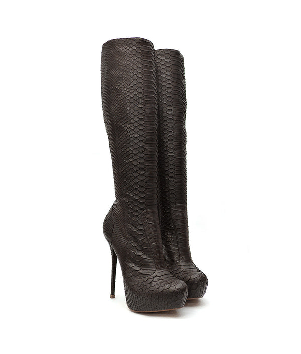 Okea Black Python · Charlotte Luxury Boots · Luxury High Heel Knee High Boots · Yarose Shulzhenko · Custom Made · Made to measure · Luxury High Heel Tall Boots · Boots