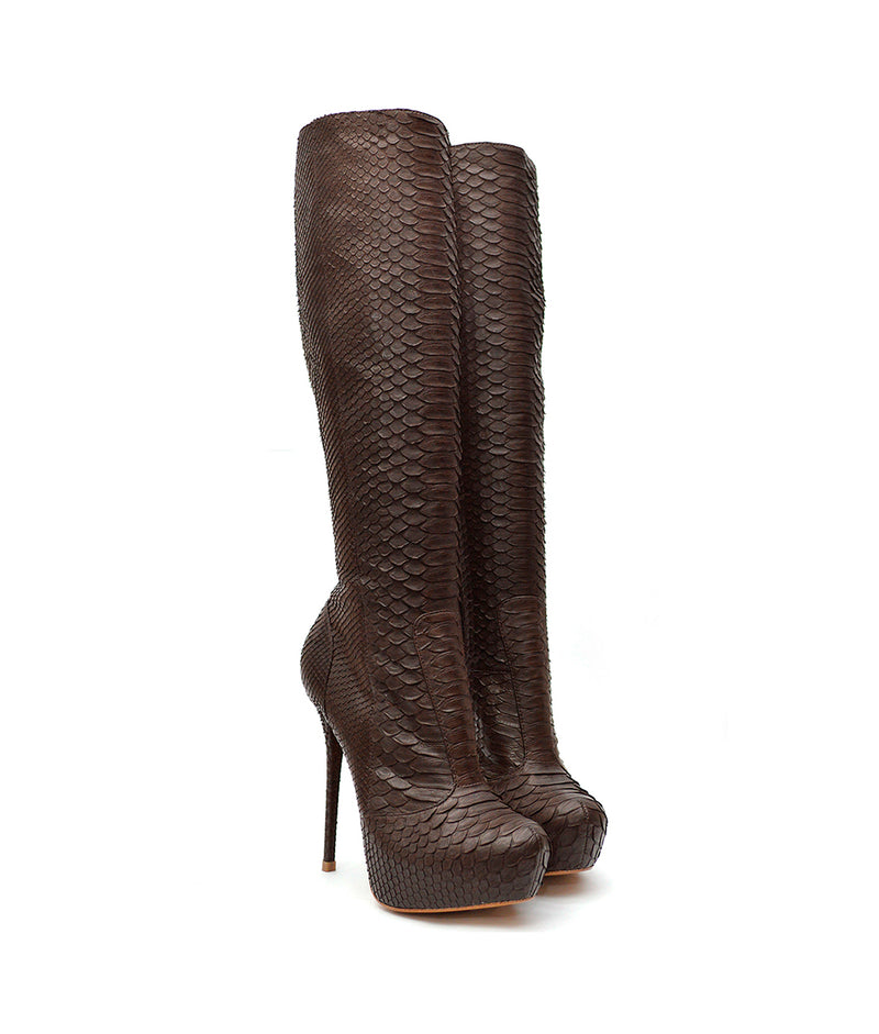 Okea Brown Python · Charlotte Luxury Boots · Luxury High Heel Knee High Boots · Yarose Shulzhenko · Custom Made · Made to measure · Luxury High Heel Tall Boots · Boots