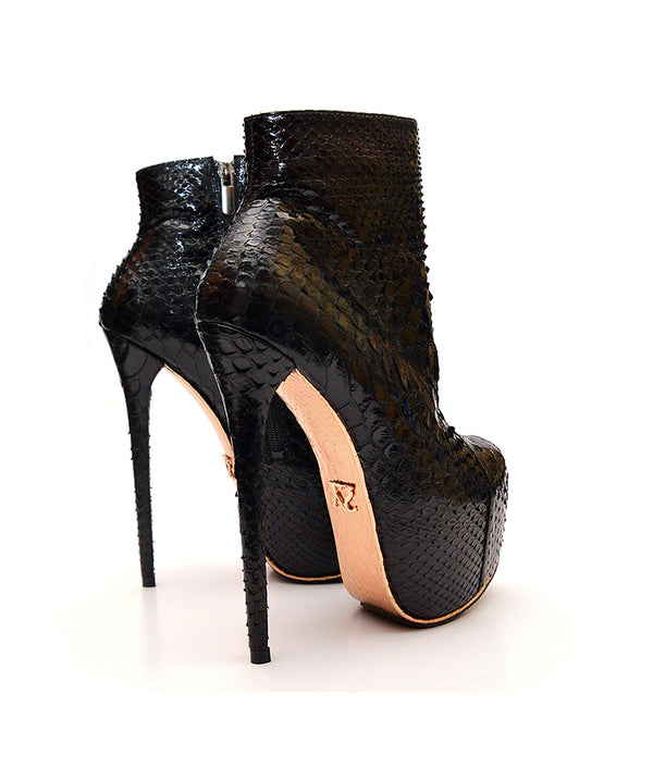 Ovalon Black Python · Charlotte Luxury Boots · Luxury High Heel Boots · Yarose Shulzhenko · Custom Made · Made to measure · Luxury High Heel Ankle Boots  · Boots