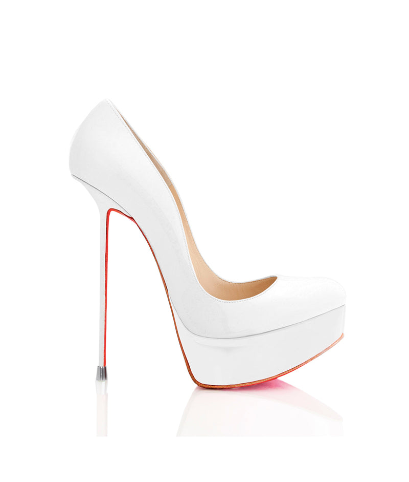 Oxia White Patent · Charlotte Luxury Shoes · Luxury High Heel Platform Shoes · Di Marni · Custom Made · Made to measure · Luxury Platform High Heel Shoes · Luxury Shoes