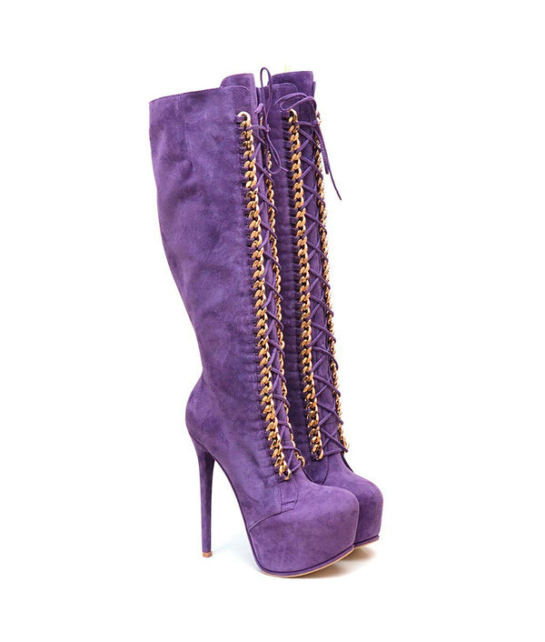 Salvius Purple Suede · Charlotte Luxury Boots · Luxury High Heel Knee High Boots · Yarose Shulzhenko · Custom Made · Made to measure · Luxury High Heel Tall Boots · Boots