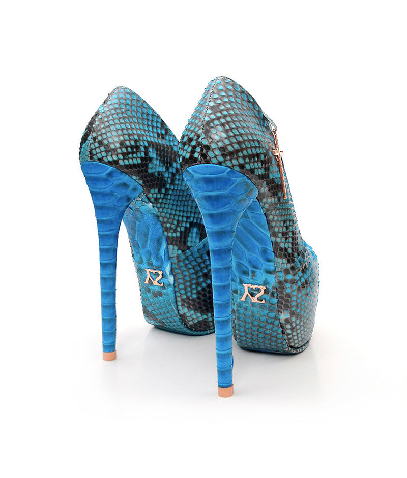 Santorium Blue Python · Charlotte Luxury Shoes · Luxury High Heel Platform Shoes · Yarose Shulzhenko · Custom Made · Made to measure · Luxury High Heel Shoes · Shoes