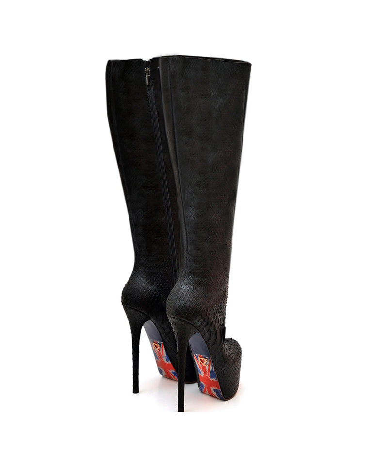 Shuara Black Python · Charlotte Luxury Boots · Luxury High Heel Knee High Boots