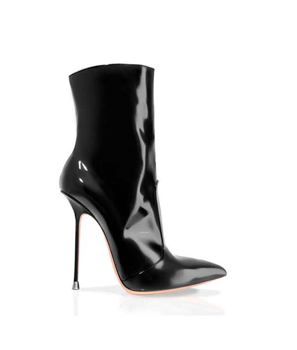 Suaran Black Patent · Charlotte Luxury Boots · Luxury High Heel Ankle Boots · Di Marni · Custom made · Made to measure · Luxury Pointy High Heel Boots · Stiletto Boots