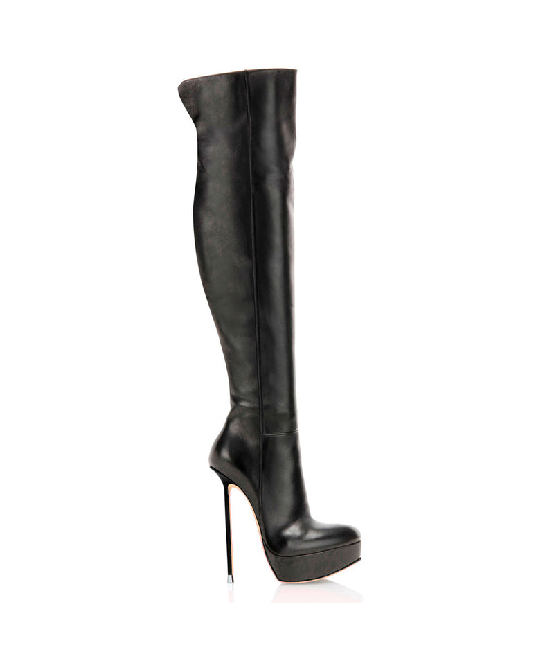 Tommal Black · Charlotte Luxury Boots · Luxury High Heel Over Knee High Boots · Di Marni · Custom made · Made to measure · Luxury Platform Boots · High Heel Boots