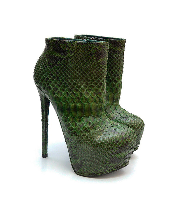 Tremol Green Python · Charlotte Luxury Boots · Luxury High Heel Boots · Yarose Shulzhenko · Custom Made · Made to measure · Luxury High Heel Ankle Boots  · Boots