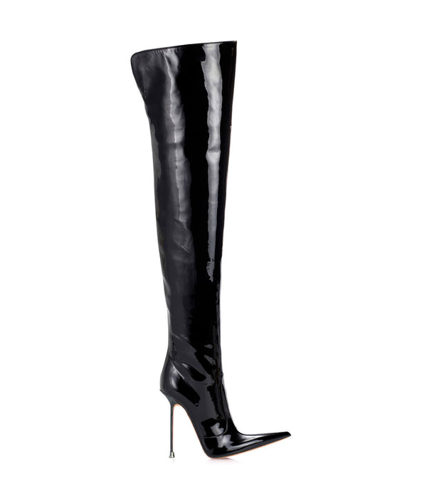 Troann Black Patent ·  Charlotte Luxury Boots · Luxury High Heel Pointy Boots · Di Marni · Custom made · Made to measure · Luxury Over Knee High Heel Boots · Boots