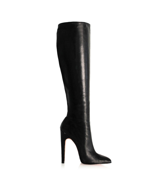 Tuffa Black  · Charlotte Luxury Boots · Luxury High Heel Pointy Boots ·  Di Marni · Custom made · Made to measure · Luxury Pointy High Heel Boots · Stiletto Boots