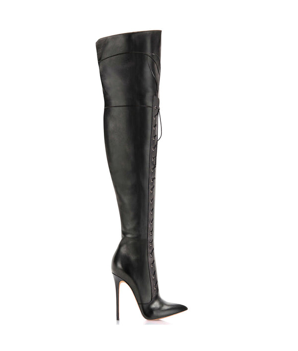 Tunisson Black · Charlotte Luxury Boots · Luxury High Heel Laced Pointy Boots · Di Marni · Custom made · Made to measure · Luxury Over Knee High Heel Boots · Boots