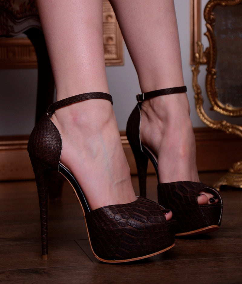 Tycas Brown Python · Charlotte Luxury Shoes · Luxury High Heel Sandals Shoes · Yarose Shulzhenko · Custom Made · Made to measure · Luxury High Heel Sandals · Shoes