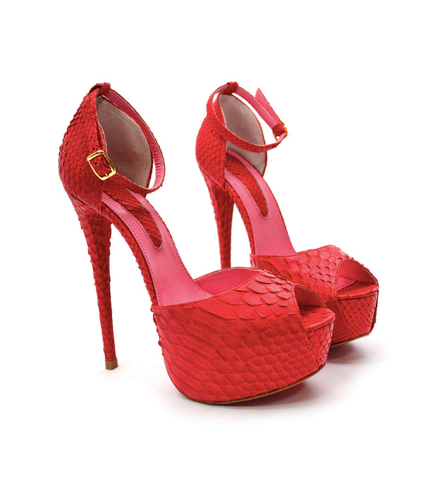 Tycas Red Python · Charlotte Luxury Shoes · Luxury High Heel Sandals Shoes · Yarose Shulzhenko · Custom Made · Made to measure · Luxury High Heel Sandals · Shoes
