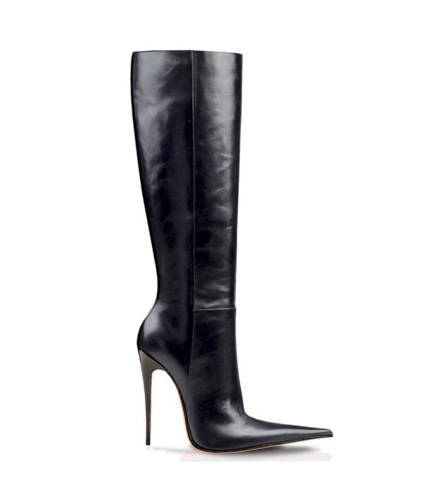 Zendra Black · Charlotte Luxury Boots · Luxury High Heel Pointy Boots · Di Marni · Custom made · Made to measure · Luxury Pointy High Heel Boots · Stiletto Boots