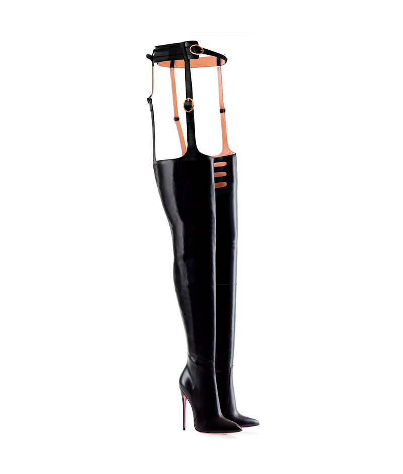 Adaia Black · Charlotte Luxury High Heels Boots · Ada de Angela Boots  · High Heels Boots · Luxury Boots · Thigh High Boots · Stiletto · Leather Boots