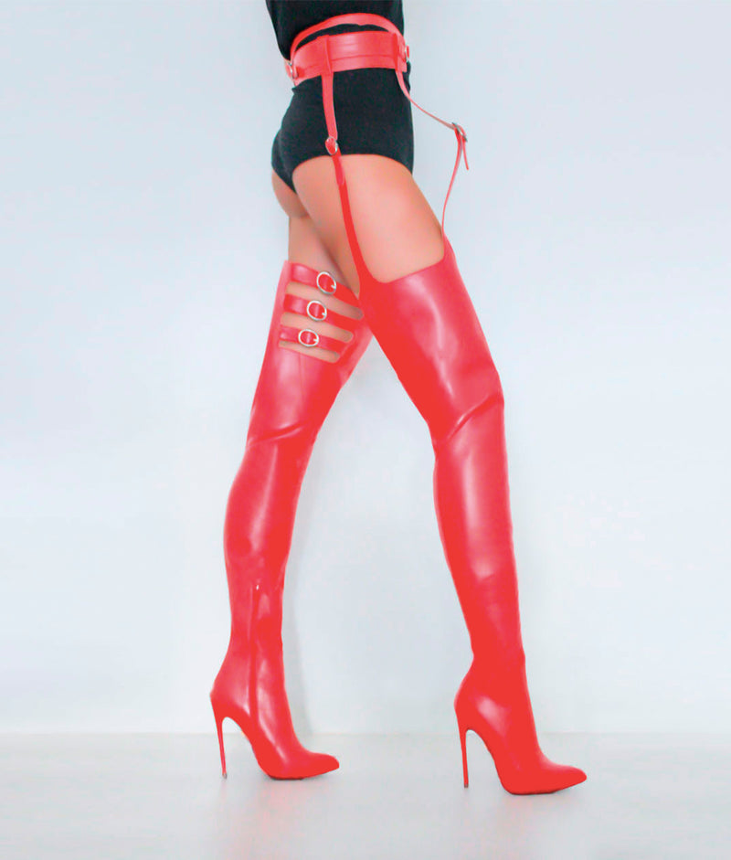 Adaia Red · Charlotte Luxury High Heels Boots · Ada de Angela Boots  · High Heels Boots · Luxury Boots · Thigh High Boots · Stiletto · Leather Boots