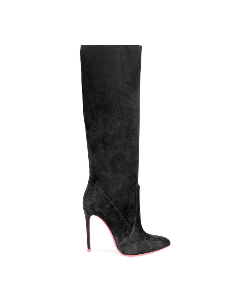 Adhil Black Suede  · Charlotte Luxury High Heels Boots · Ada de Angela Shoes · High Heels Boots · Luxury Boots · Knee High Boots · Stiletto · Leather Boots